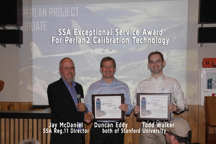 Jay McDaniel, SSA Region 11 Director, presents SSA Exceptional Service award to Duncan Eddy and Todd Walterof Stanford University for their efforts in calibration technology that facilitated the record breaking attempts of the Perlan 2 glider  2017-11-04